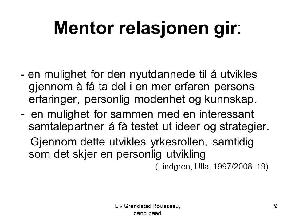 9 Mentor relasjonen gir: - en mulighet for den nyutdannede til å utvikles gjennom å få ta del i en mer erfaren persons erfaringer, personlig modenhet