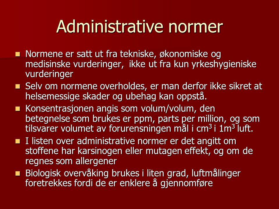 Administrative normer Normene er satt ut fra tekniske, økonomiske og medisinske vurderinger, ikke ut fra kun yrkeshygieniske vurderinger Normene er sa