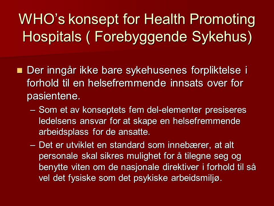 WHO's konsept for Health Promoting Hospitals ( Forebyggende Sykehus) Der inngår ikke bare sykehusenes forpliktelse i forhold til en helsefremmende innsats over for pasientene.