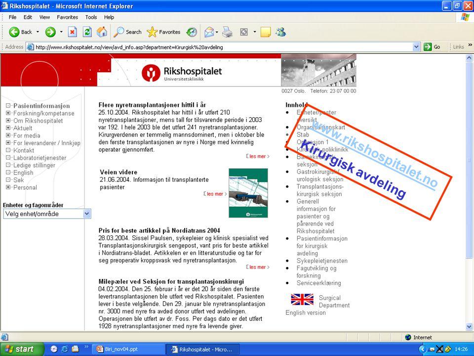 www.rikshospitalet.no Kirurgisk avdeling