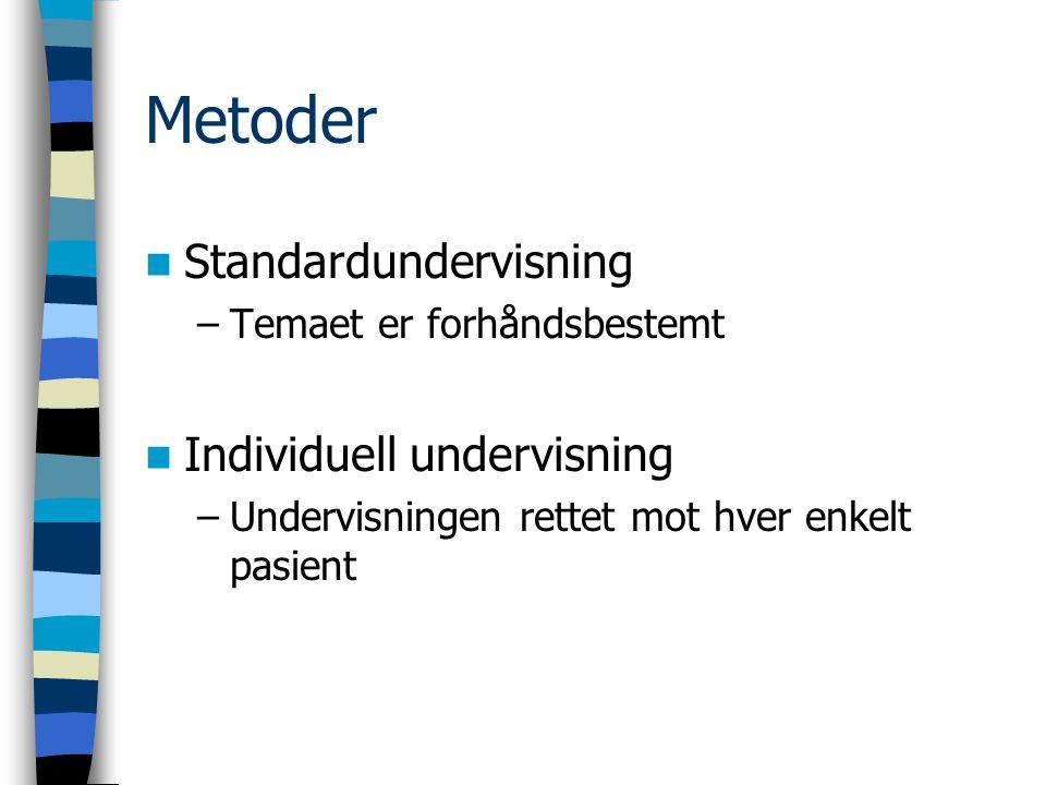 Metoder Standardundervisning –Temaet er forhåndsbestemt Individuell undervisning –Undervisningen rettet mot hver enkelt pasient