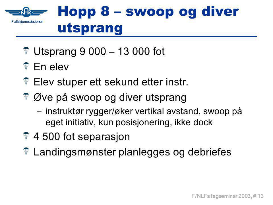 Fallskjermseksjonen F/NLFs fagseminar 2003, # 13 Hopp 8 – swoop og diver utsprang Utsprang 9 000 – 13 000 fot En elev Elev stuper ett sekund etter instr.