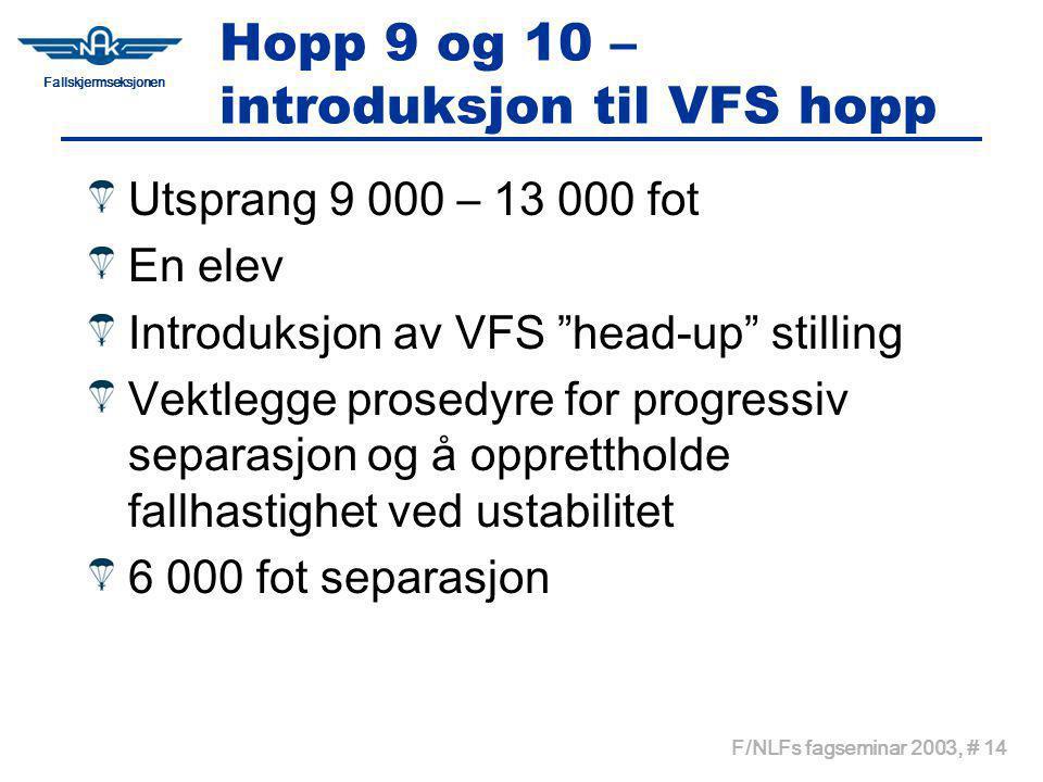 Fallskjermseksjonen F/NLFs fagseminar 2003, # 14 Hopp 9 og 10 – introduksjon til VFS hopp Utsprang 9 000 – 13 000 fot En elev Introduksjon av VFS head-up stilling Vektlegge prosedyre for progressiv separasjon og å opprettholde fallhastighet ved ustabilitet 6 000 fot separasjon