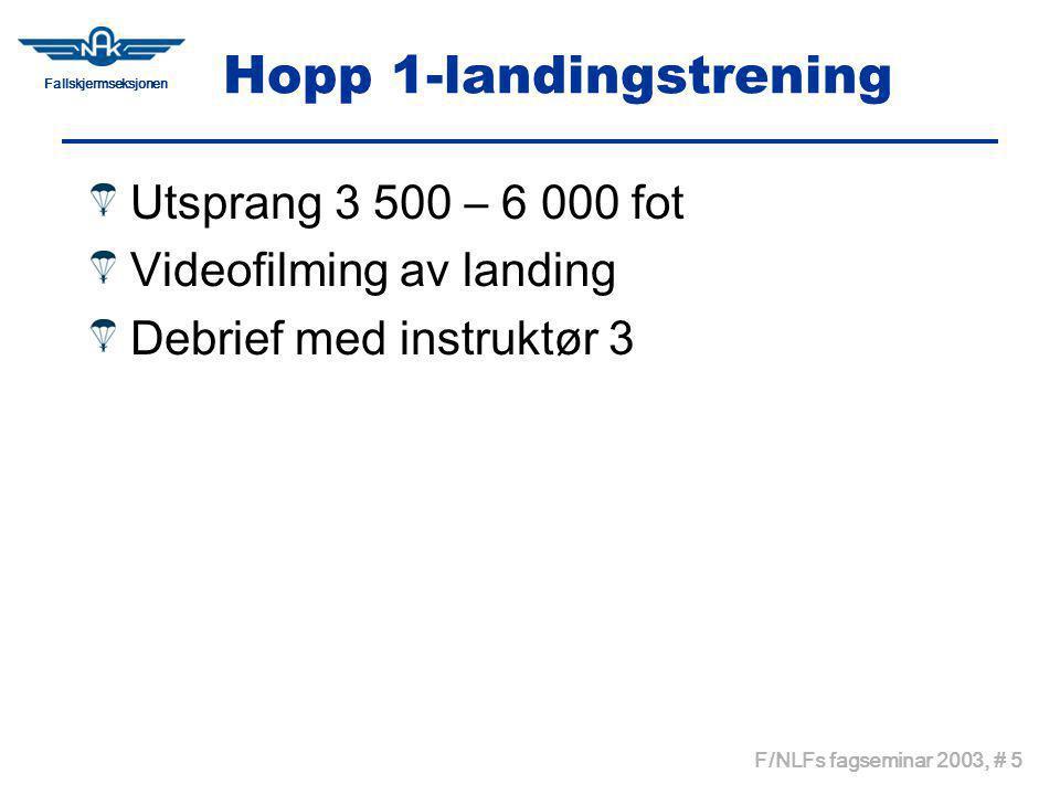 Fallskjermseksjonen F/NLFs fagseminar 2003, # 5 Hopp 1-landingstrening Utsprang 3 500 – 6 000 fot Videofilming av landing Debrief med instruktør 3