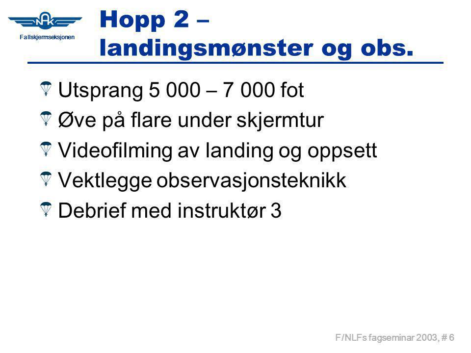 Fallskjermseksjonen F/NLFs fagseminar 2003, # 6 Hopp 2 – landingsmønster og obs.