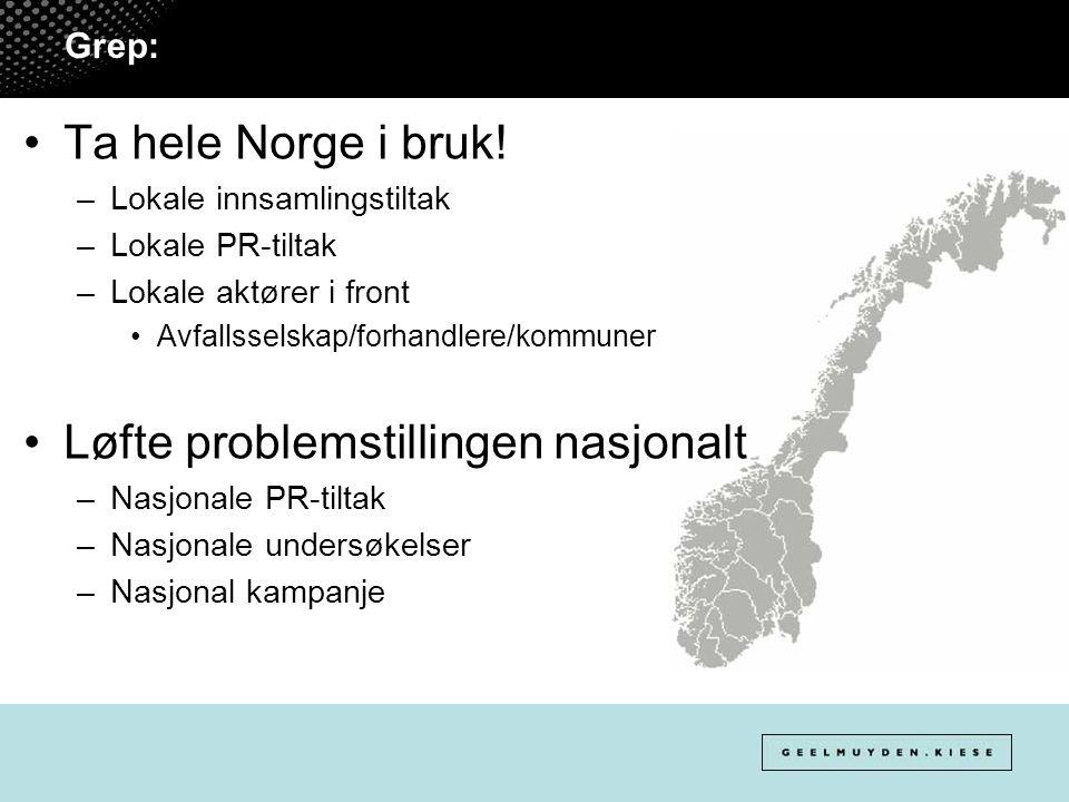 Grep: Ta hele Norge i bruk! –Lokale innsamlingstiltak –Lokale PR-tiltak –Lokale aktører i front Avfallsselskap/forhandlere/kommuner Løfte problemstill