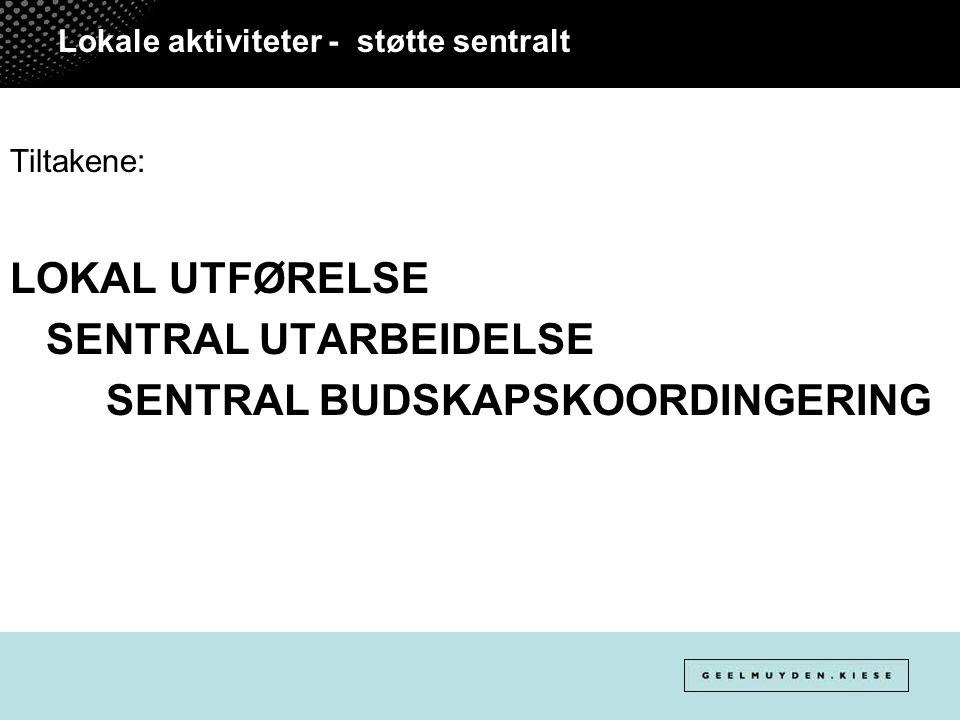 Lokale aktiviteter - støtte sentralt Tiltakene: LOKAL UTFØRELSE SENTRAL UTARBEIDELSE SENTRAL BUDSKAPSKOORDINGERING