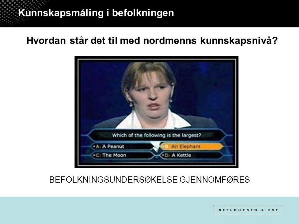 Kunnskapsmåling i befolkningen Hvordan står det til med nordmenns kunnskapsnivå? BEFOLKNINGSUNDERSØKELSE GJENNOMFØRES