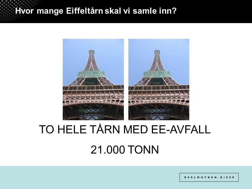 Hvor mange Eiffeltårn skal vi samle inn? TO HELE TÅRN MED EE-AVFALL 21.000 TONN