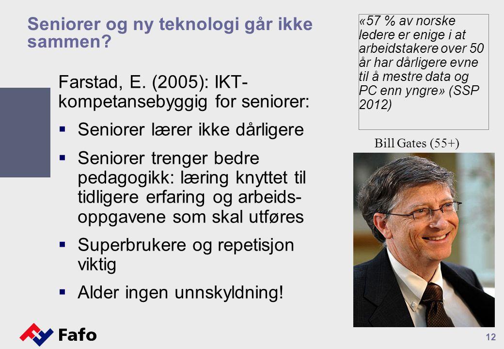 Seniorer og ny teknologi går ikke sammen? Farstad, E. (2005): IKT- kompetansebyggig for seniorer:  Seniorer lærer ikke dårligere  Seniorer trenger b