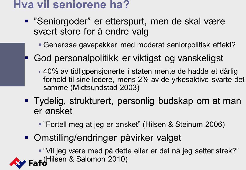 """Hva vil seniorene ha?  """"Seniorgoder"""" er etterspurt, men de skal være svært store for å endre valg  Generøse gavepakker med moderat seniorpolitisk ef"""