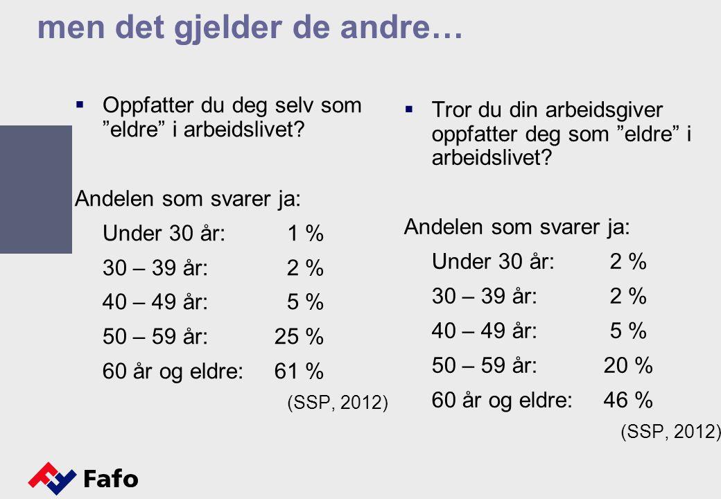 """men det gjelder de andre…  Oppfatter du deg selv som """"eldre"""" i arbeidslivet? Andelen som svarer ja: Under 30 år: 1 % 30 – 39 år: 2 % 40 – 49 år: 5 %"""