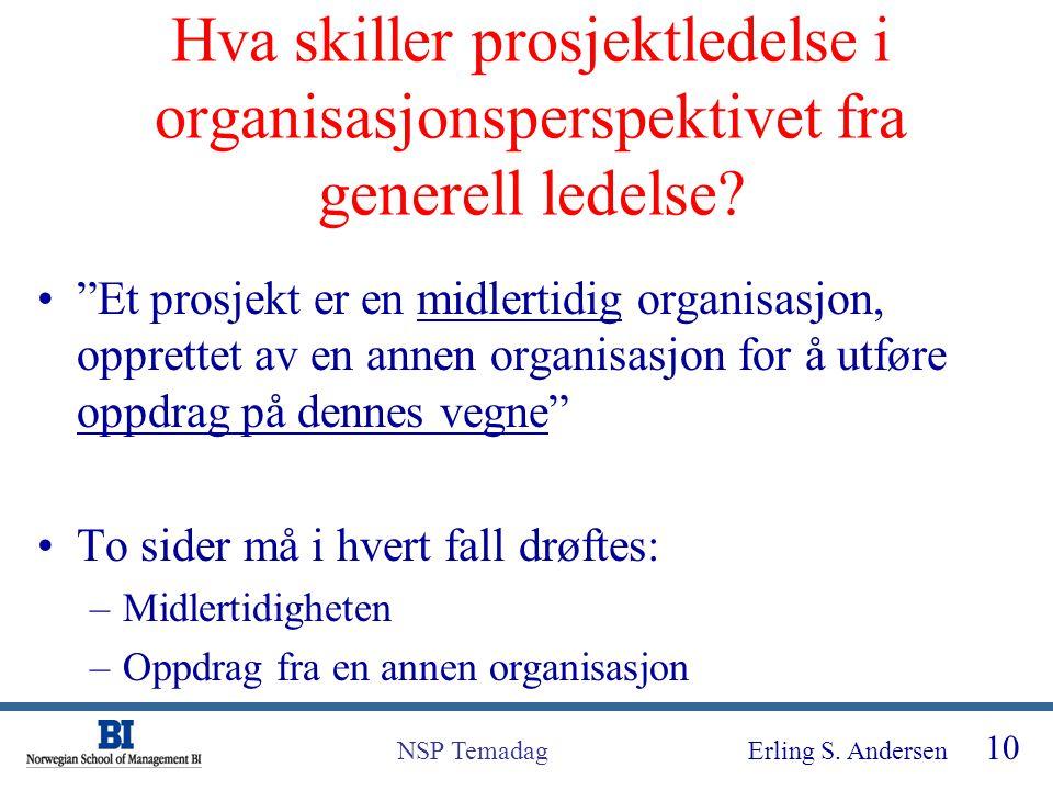 """Erling S. Andersen 10 NSP Temadag Hva skiller prosjektledelse i organisasjonsperspektivet fra generell ledelse? """"Et prosjekt er en midlertidig organis"""