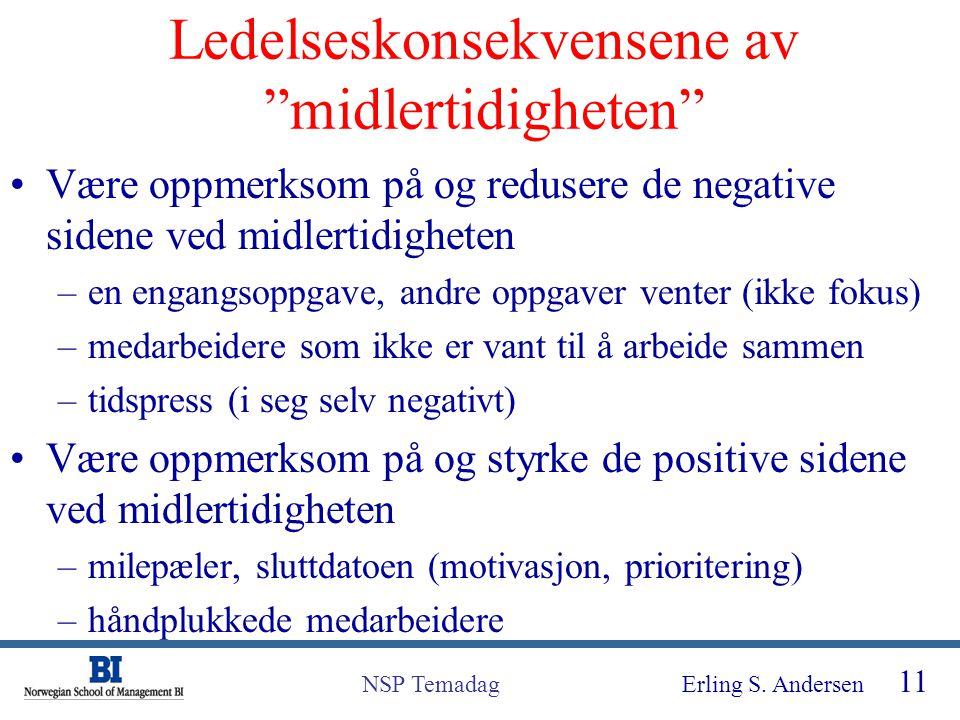 """Erling S. Andersen 11 NSP Temadag Ledelseskonsekvensene av """"midlertidigheten"""" Være oppmerksom på og redusere de negative sidene ved midlertidigheten –"""