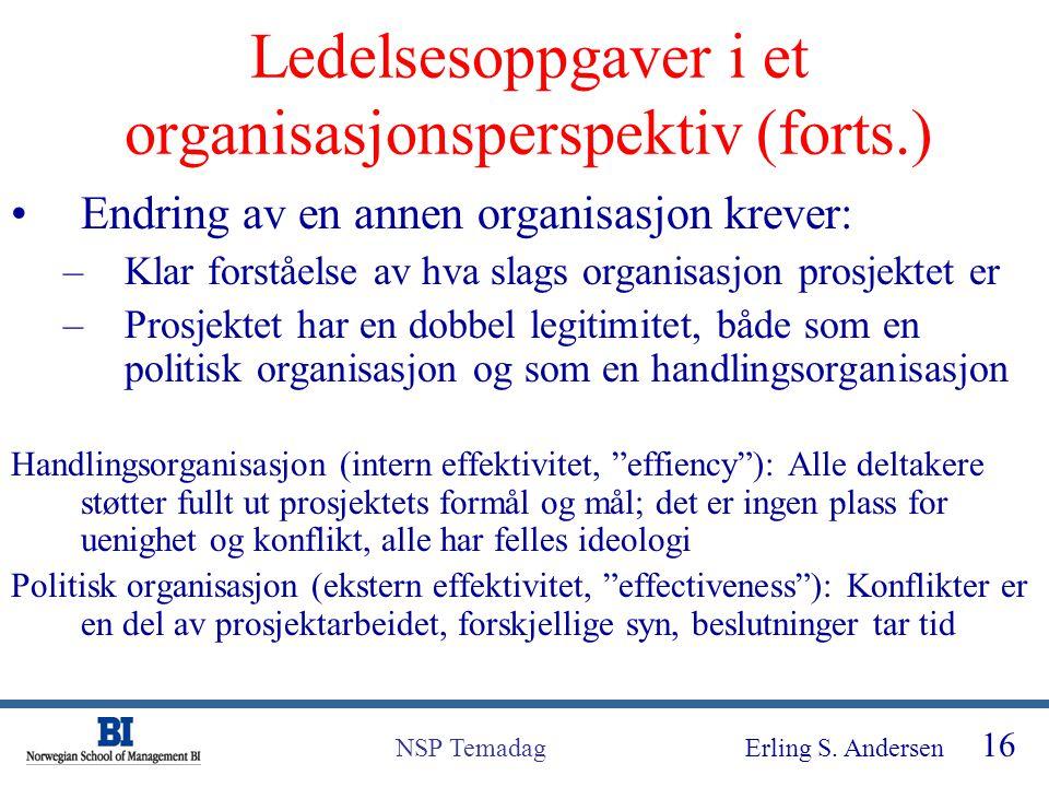 Erling S. Andersen 16 NSP Temadag Ledelsesoppgaver i et organisasjonsperspektiv (forts.) Endring av en annen organisasjon krever: –Klar forståelse av