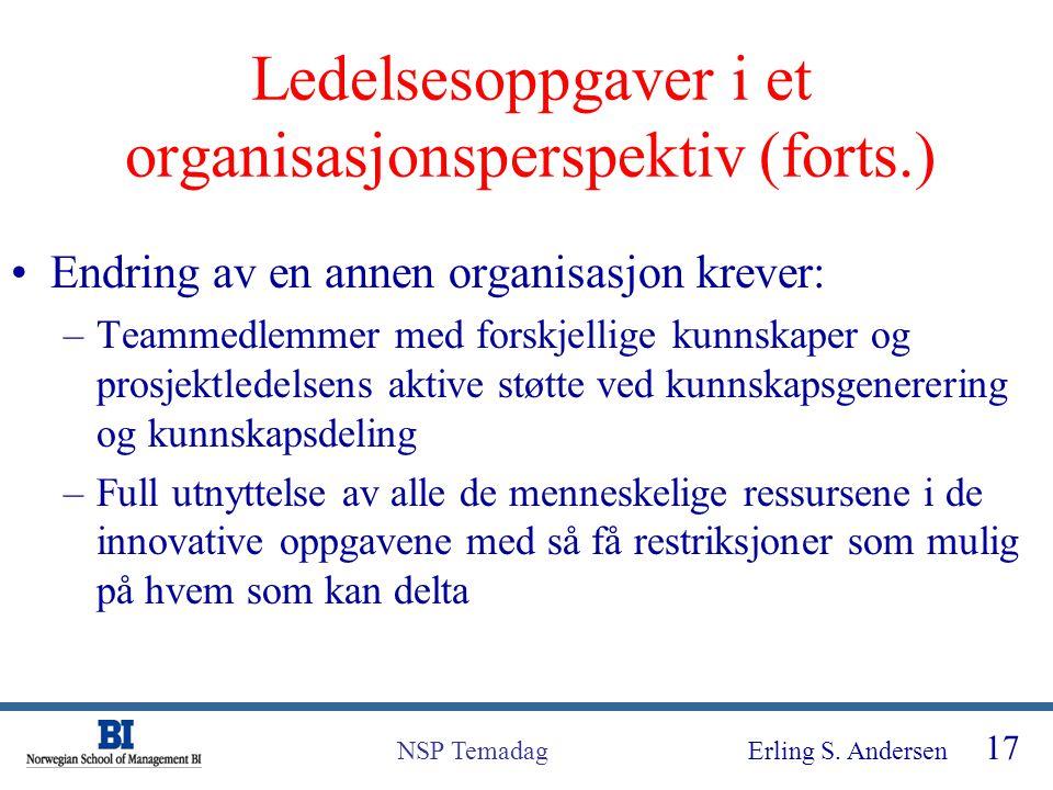 Erling S. Andersen 17 NSP Temadag Ledelsesoppgaver i et organisasjonsperspektiv (forts.) Endring av en annen organisasjon krever: –Teammedlemmer med f