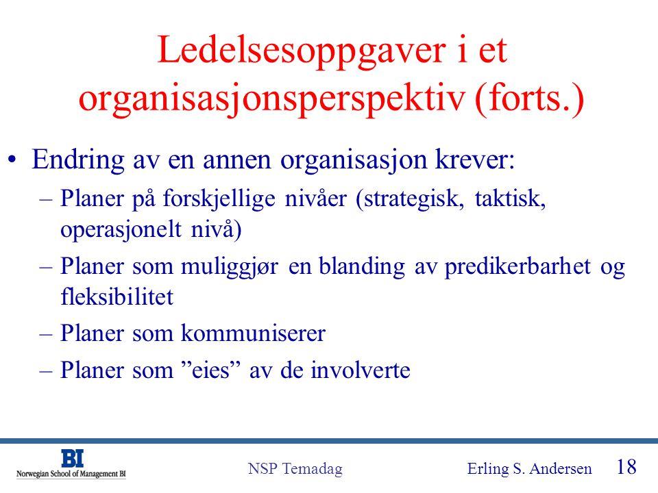 Erling S. Andersen 18 NSP Temadag Ledelsesoppgaver i et organisasjonsperspektiv (forts.) Endring av en annen organisasjon krever: –Planer på forskjell