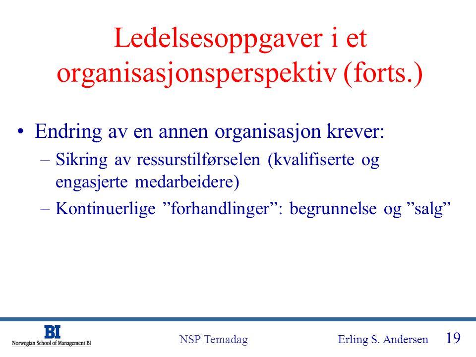 Erling S. Andersen 19 NSP Temadag Ledelsesoppgaver i et organisasjonsperspektiv (forts.) Endring av en annen organisasjon krever: –Sikring av ressurst
