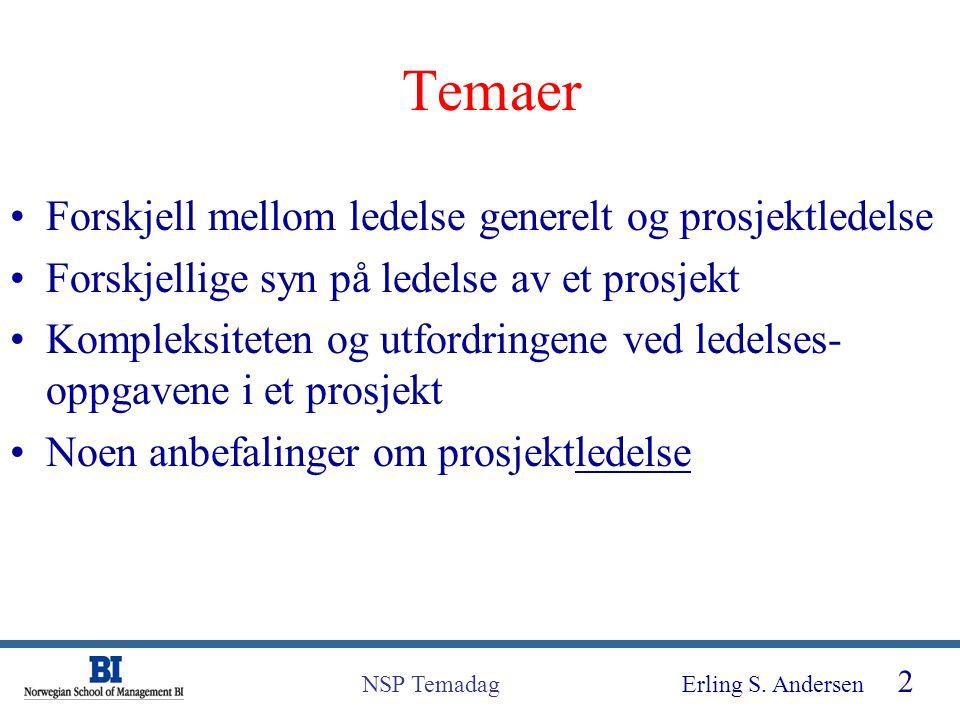 Erling S. Andersen 2 NSP Temadag Temaer Forskjell mellom ledelse generelt og prosjektledelse Forskjellige syn på ledelse av et prosjekt Kompleksiteten