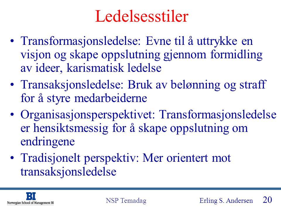 Erling S. Andersen 20 NSP Temadag Ledelsesstiler Transformasjonsledelse: Evne til å uttrykke en visjon og skape oppslutning gjennom formidling av idee