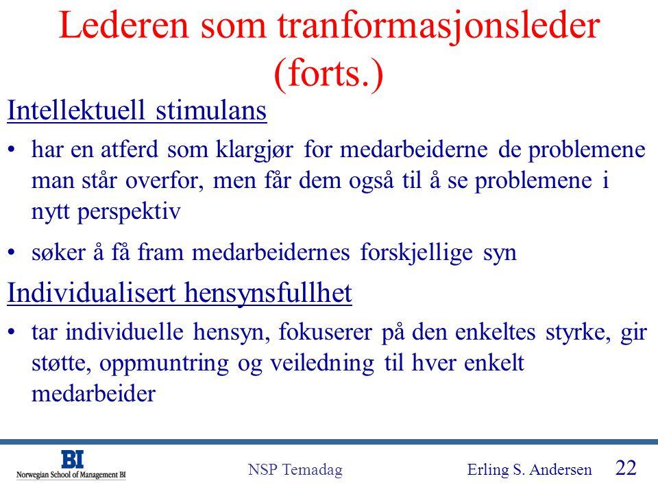 Erling S. Andersen 22 NSP Temadag Lederen som tranformasjonsleder (forts.) Intellektuell stimulans har en atferd som klargjør for medarbeiderne de pro