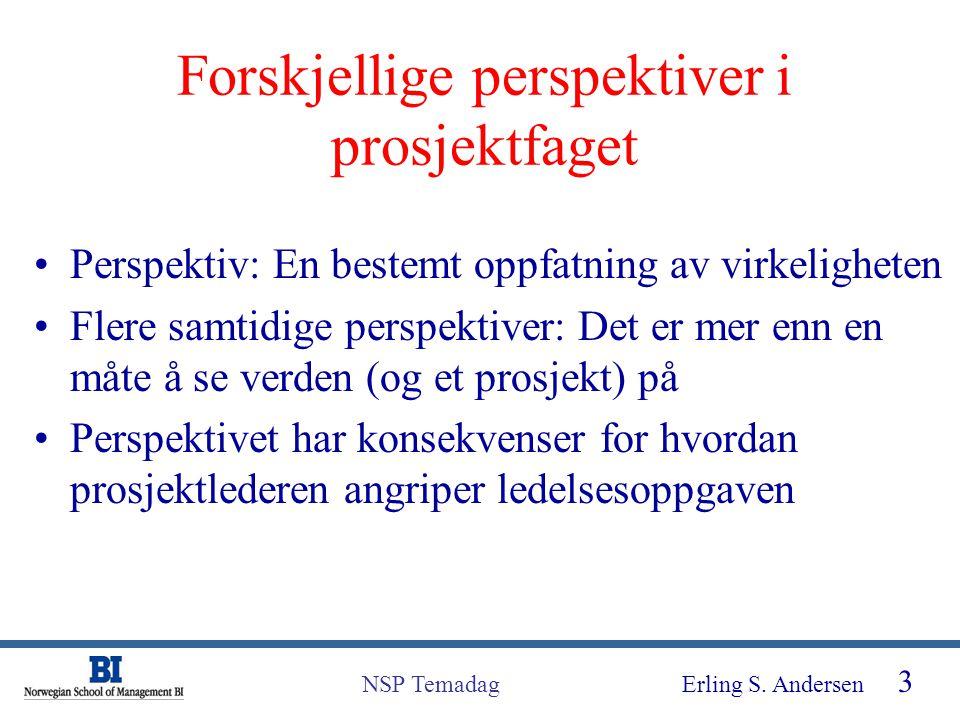 Erling S. Andersen 3 NSP Temadag Forskjellige perspektiver i prosjektfaget Perspektiv: En bestemt oppfatning av virkeligheten Flere samtidige perspekt