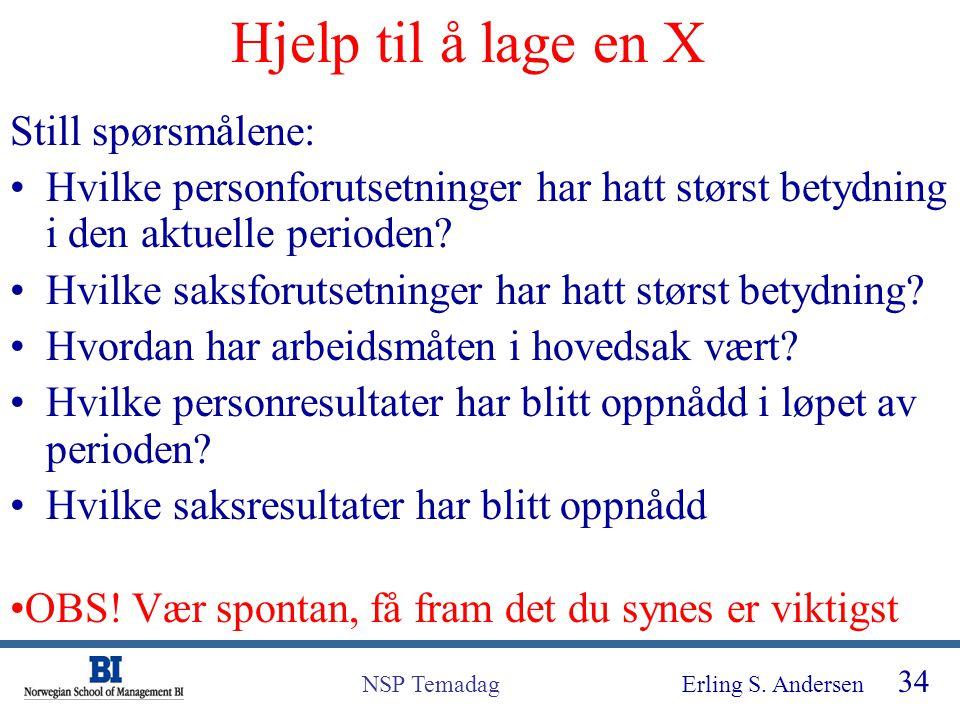 Erling S. Andersen 34 NSP Temadag Hjelp til å lage en X Still spørsmålene: Hvilke personforutsetninger har hatt størst betydning i den aktuelle period