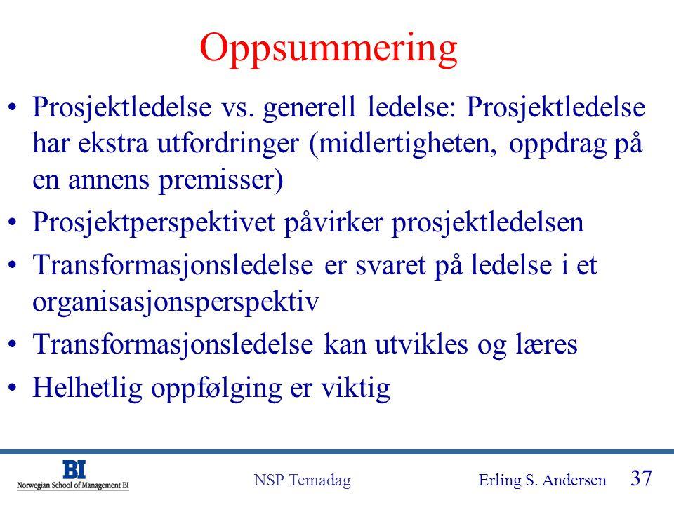 Erling S. Andersen 37 NSP Temadag Oppsummering Prosjektledelse vs. generell ledelse: Prosjektledelse har ekstra utfordringer (midlertigheten, oppdrag