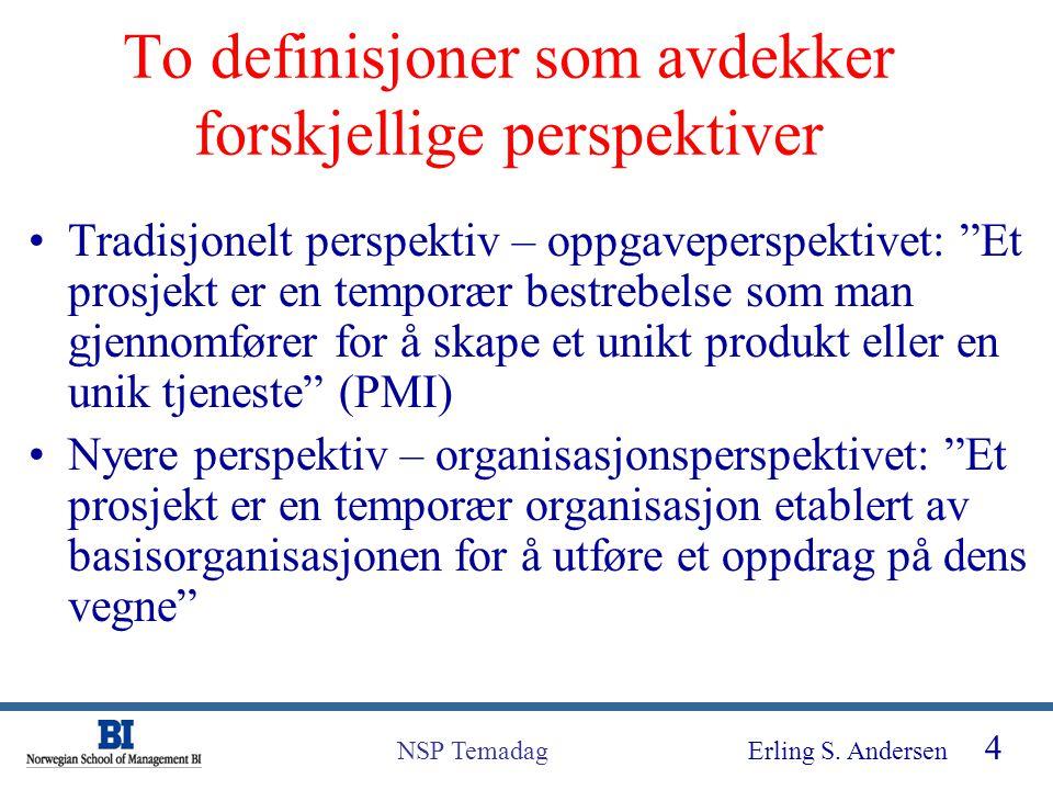 """Erling S. Andersen 4 NSP Temadag To definisjoner som avdekker forskjellige perspektiver Tradisjonelt perspektiv – oppgaveperspektivet: """"Et prosjekt er"""