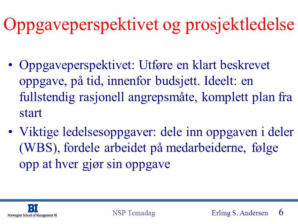 Erling S. Andersen 6 NSP Temadag Oppgaveperspektivet og prosjektledelse Oppgaveperspektivet: Utføre en klart beskrevet oppgave, på tid, innenfor budsj