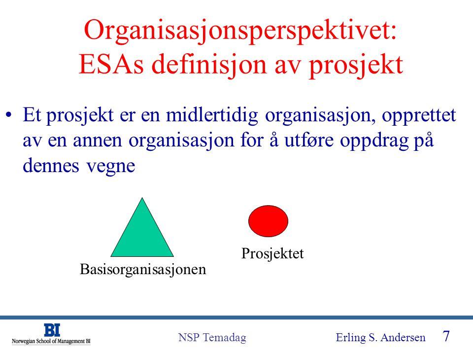 Erling S. Andersen 7 NSP Temadag Organisasjonsperspektivet: ESAs definisjon av prosjekt Et prosjekt er en midlertidig organisasjon, opprettet av en an