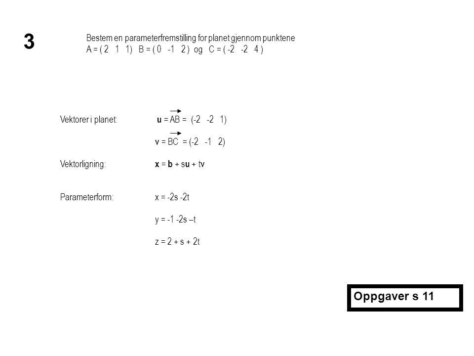 Bestem en parameterfremstilling for et rom V som går gjennom punktene A = ( 2 2 3 1), B = ( 2 3 -1 0 ) og C = ( 2 0 -1 2 ) og er parallelt med x 1 -aksen 6 Dim V = 3  vi må ha 3 vektorer u = AB = (0 1 -4 -1) v = AC = (0 -2 -4 1) Vektor langs x 1 -aksen: w = (1 0 0 0) Vektorligning: x = a + r u + s v + t w Parameterform:x 1 = 2 + t x 2 = 2 + r – 2s x 3 = 3 - 4r – 4s x 4 = 1 – r + s Oppgaver s 11