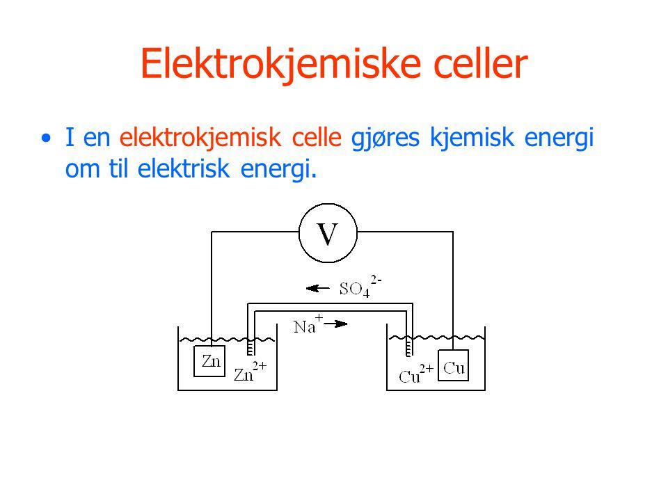 Elektrokjemiske celler I en elektrokjemisk celle gjøres kjemisk energi om til elektrisk energi.