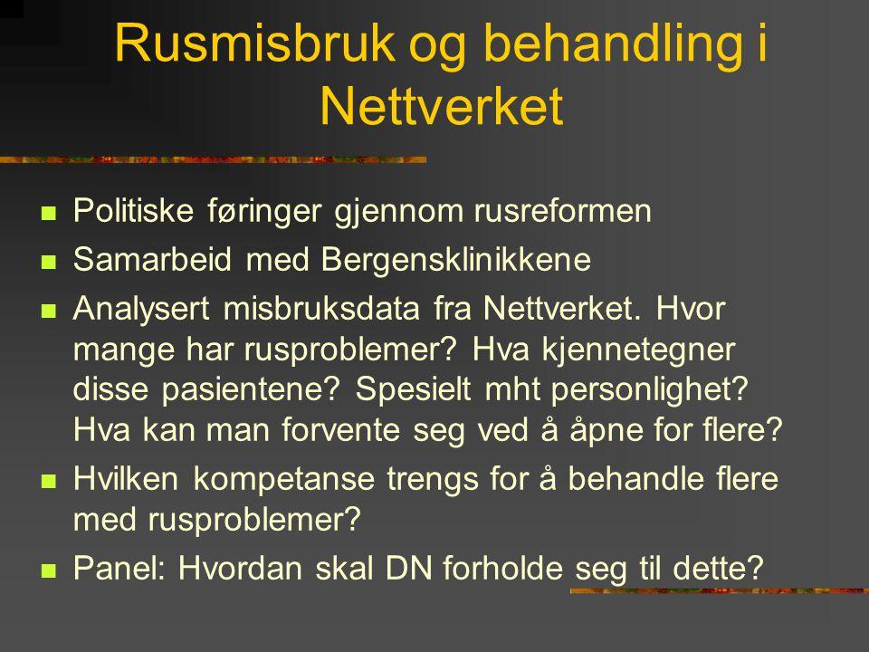 Rusmisbruk og behandling i Nettverket Politiske føringer gjennom rusreformen Samarbeid med Bergensklinikkene Analysert misbruksdata fra Nettverket.