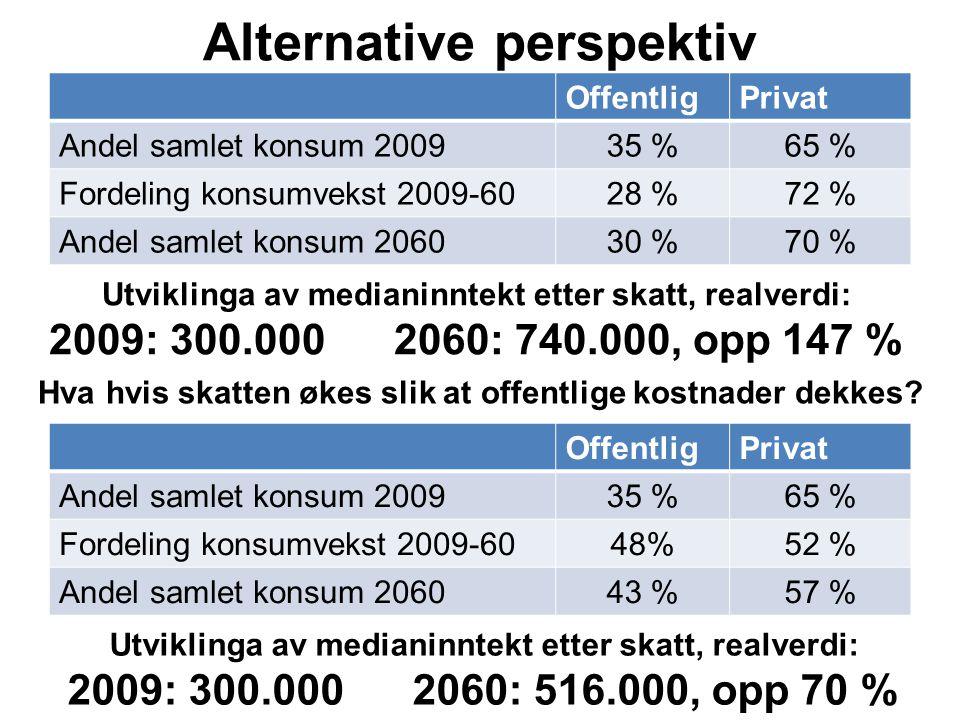 Alternative perspektiv OffentligPrivat Andel samlet konsum 200935 %65 % Fordeling konsumvekst 2009-6028 %72 % Andel samlet konsum 206030 %70 % Hva hvi