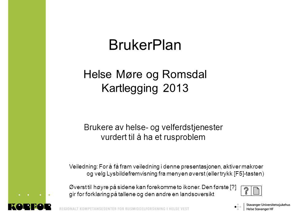 BrukerPlan Helse Møre og Romsdal Kartlegging 2013 Brukere av helse- og velferdstjenester vurdert til å ha et rusproblem Veiledning: For å få fram veil