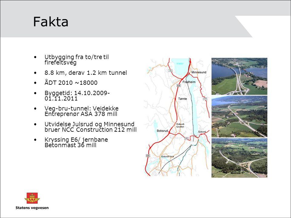 Fakta Utbygging fra to/tre til firefeltsveg 8.8 km, derav 1.2 km tunnel ÅDT 2010 ~18000 Byggetid: 14.10.2009- 01.11.2011 Veg-bru-tunnel: Veidekke Entr