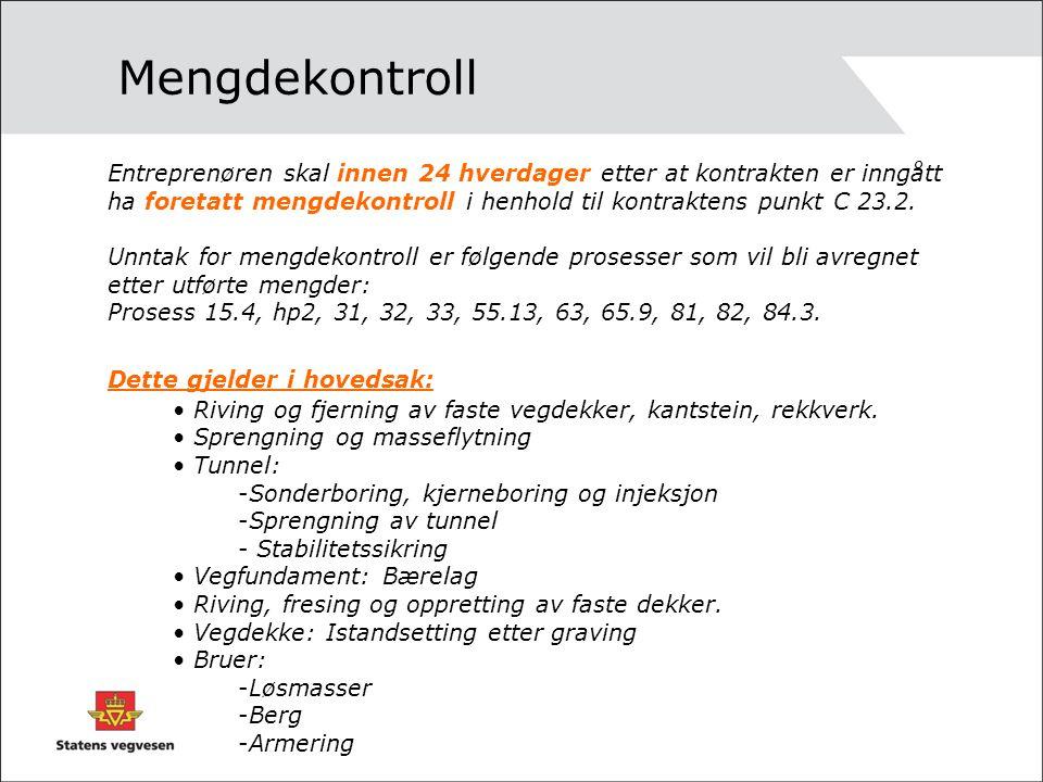 Mengdekontroll Entreprenøren skal innen 24 hverdager etter at kontrakten er inngått ha foretatt mengdekontroll i henhold til kontraktens punkt C 23.2.