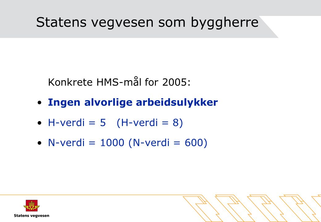 Statens vegvesen som byggherre Konkrete HMS-mål for 2005: Ingen alvorlige arbeidsulykker H-verdi = 5 (H-verdi = 8) N-verdi = 1000 (N-verdi = 600)