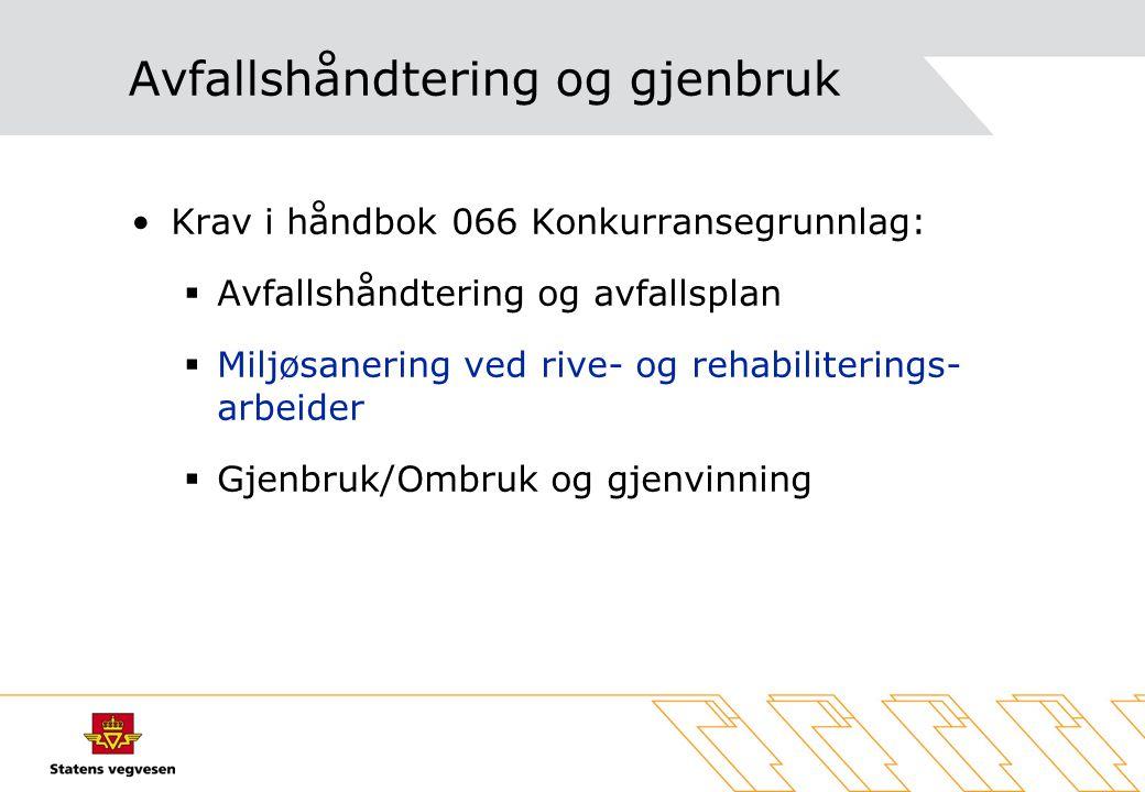 Avfallshåndtering og gjenbruk Krav i håndbok 066 Konkurransegrunnlag:  Avfallshåndtering og avfallsplan  Miljøsanering ved rive- og rehabiliterings-