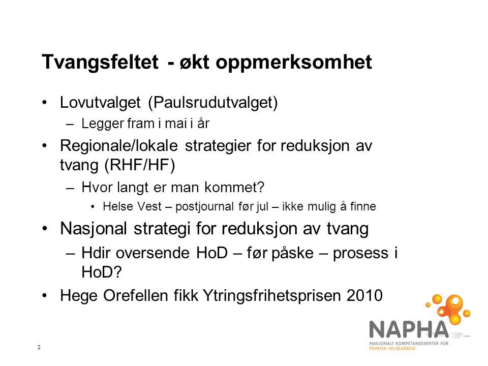 3 Tvangsfeltet - økt oppmerksomhet Nordisk konferanse om alternativer til tvang –Vasa 20-22/6-11
