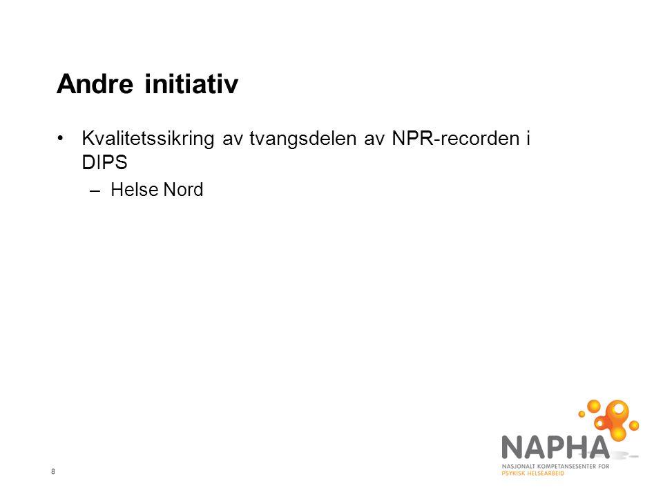 8 Andre initiativ Kvalitetssikring av tvangsdelen av NPR-recorden i DIPS –Helse Nord