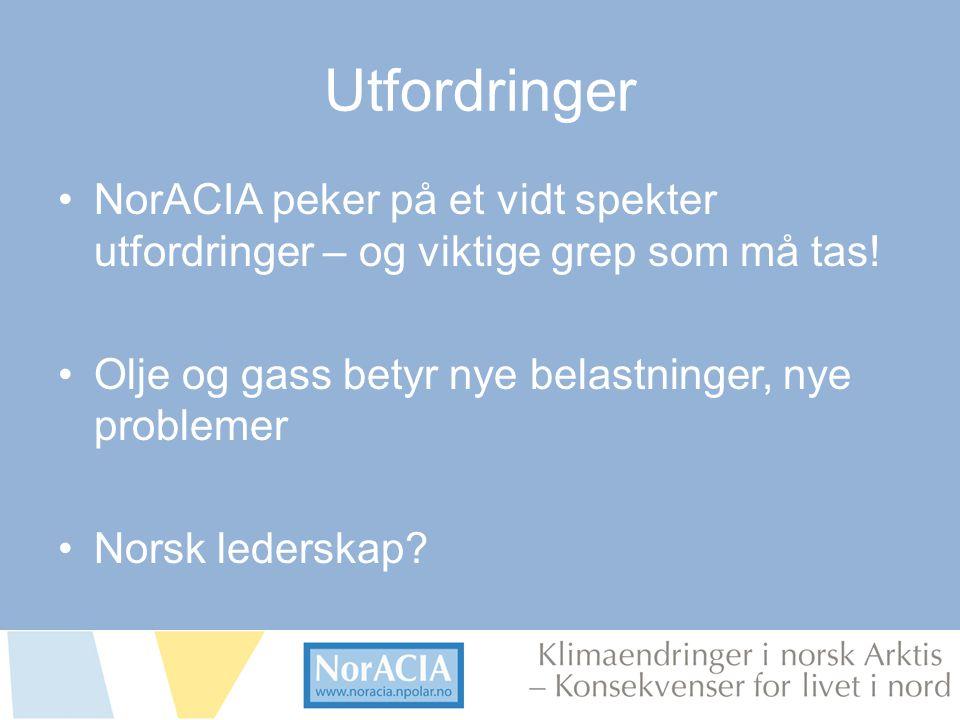 limaendringer i norsk Arktis – Knsekvenser for livet i nord Utfordringer NorACIA peker på et vidt spekter utfordringer – og viktige grep som må tas.