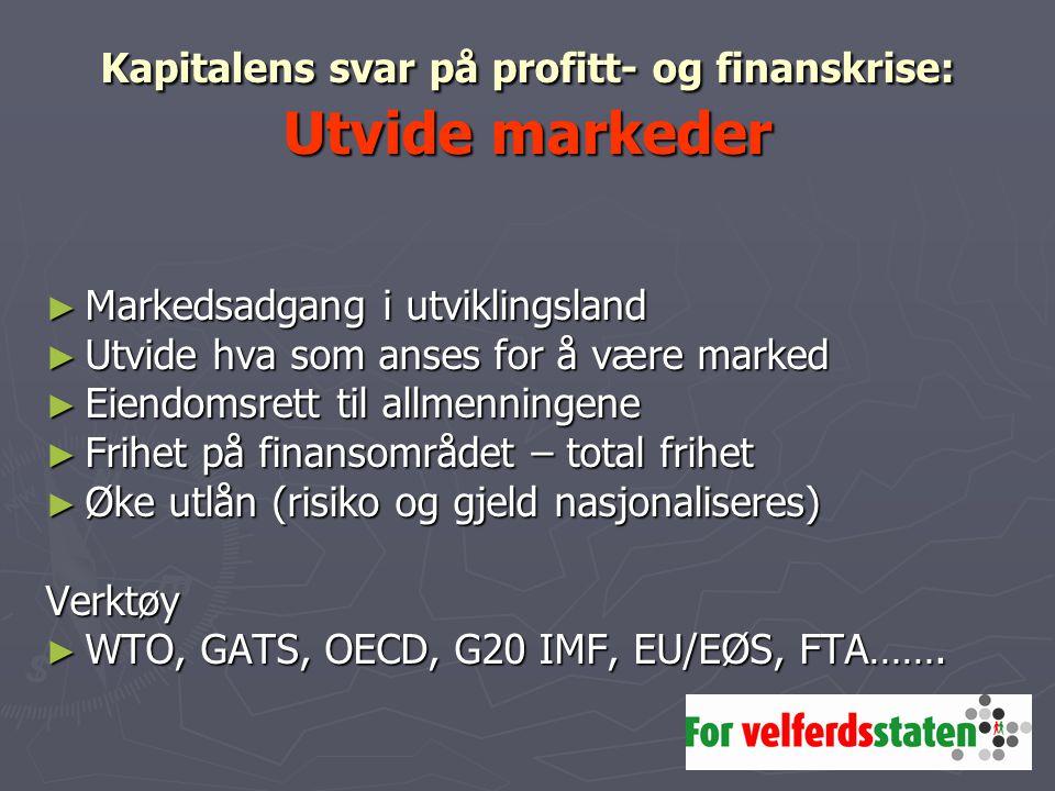 Kapitalens svar på profitt- og finanskrise: Utvide markeder ► Markedsadgang i utviklingsland ► Utvide hva som anses for å være marked ► Eiendomsrett t