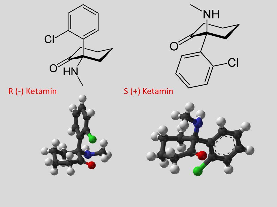 Stoffet Ketamin Rasemat av enantiomerene – R (-) Ketamin – S (+) Ketamin  Ketalar ® S (+) Ketamin (Ketanest ® ) – Ikke markedsført i Norge – Mer analgetisk potent (x 2 rasemat) – Mindre bivirkninger.
