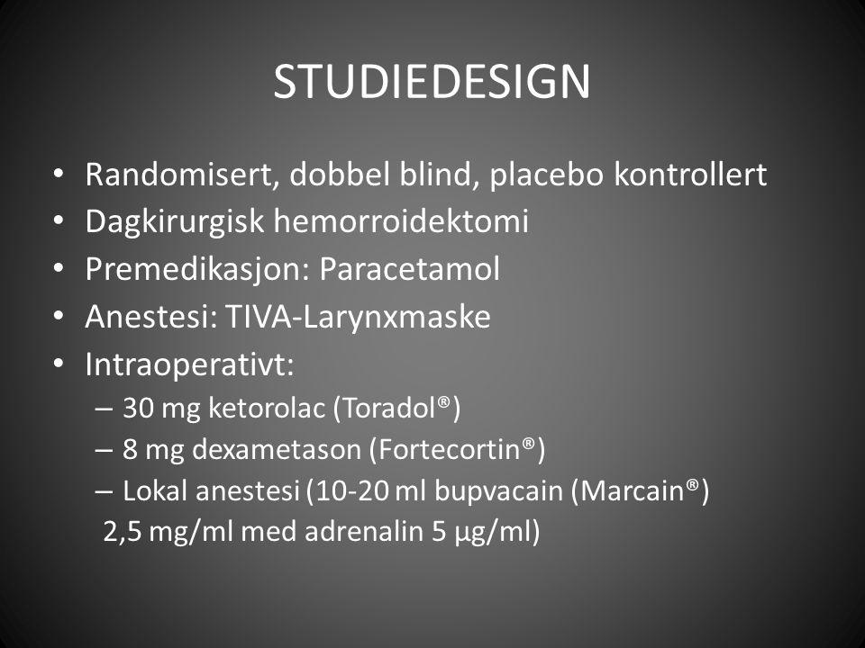 STUDIEDESIGN Randomisert, dobbel blind, placebo kontrollert Dagkirurgisk hemorroidektomi Premedikasjon: Paracetamol Anestesi: TIVA-Larynxmaske Intraoperativt: – 30 mg ketorolac (Toradol®) – 8 mg dexametason (Fortecortin®) – Lokal anestesi (10-20 ml bupvacain (Marcain®) 2,5 mg/ml med adrenalin 5 µg/ml)