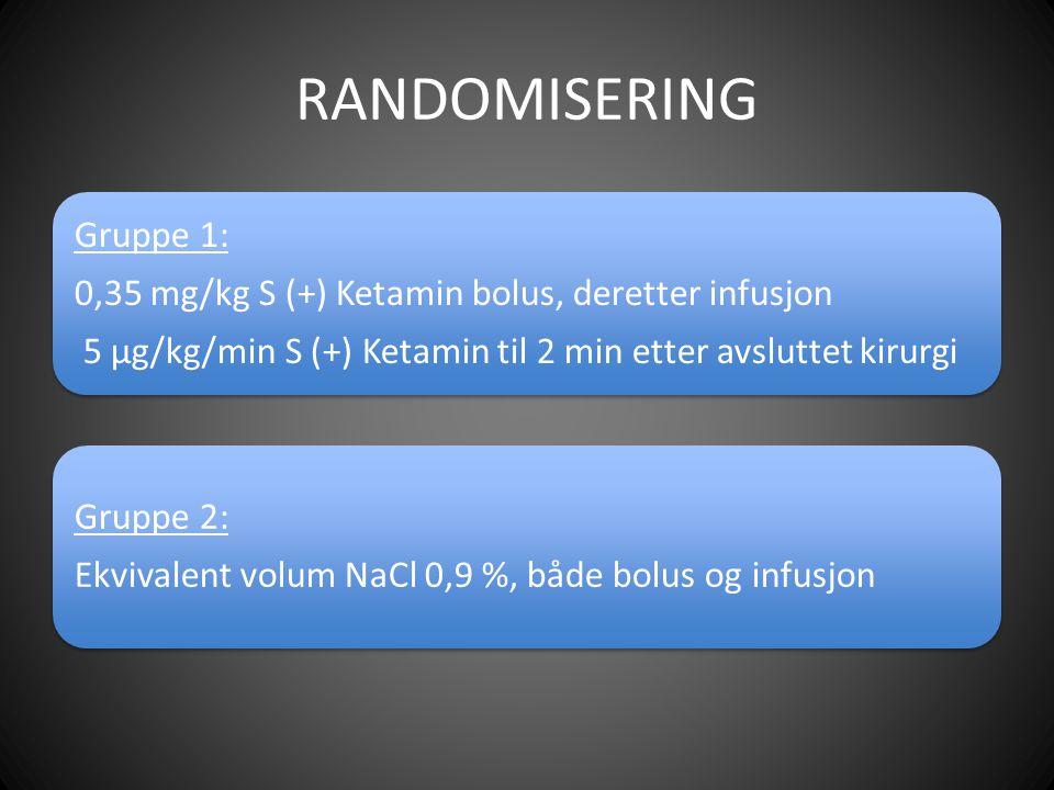 RANDOMISERING Gruppe 1: 0,35 mg/kg S (+) Ketamin bolus, deretter infusjon 5 µg/kg/min S (+) Ketamin til 2 min etter avsluttet kirurgi Gruppe 2: Ekvivalent volum NaCl 0,9 %, både bolus og infusjon