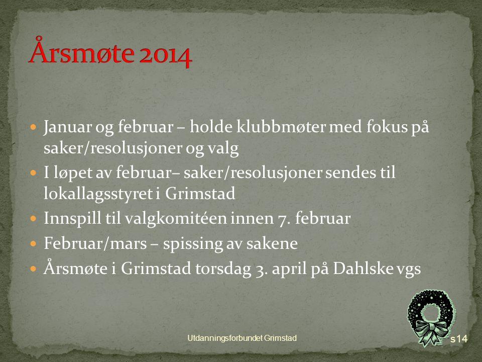 Uke 49 og 50 Frist for innsending er onsdag 18. desember s13 Utdanningsforbundet Grimstad