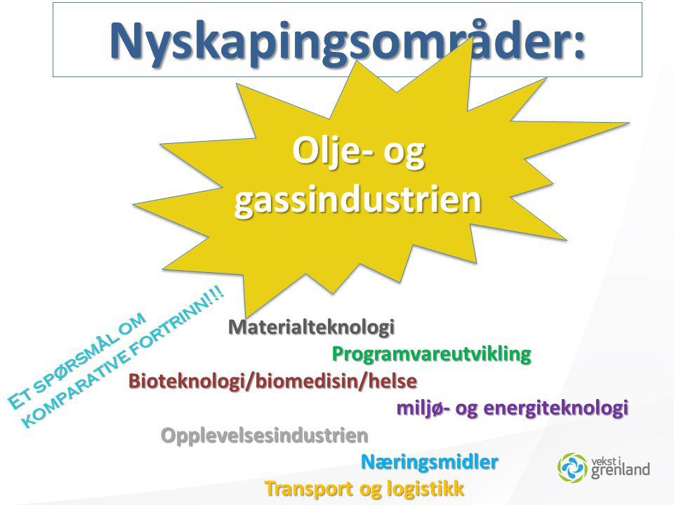Nyskapingsområder: MaterialteknologiProgramvareutvikling Bioteknologi/biomedisin/helse Bioteknologi/biomedisin/helse miljø- og energiteknologi miljø- og energiteknologiOpplevelsesindustrien Næringsmidler Næringsmidler Transport og logistikk Olje- og gassindustrien Et spørsmål om komparative fortrinn!!!