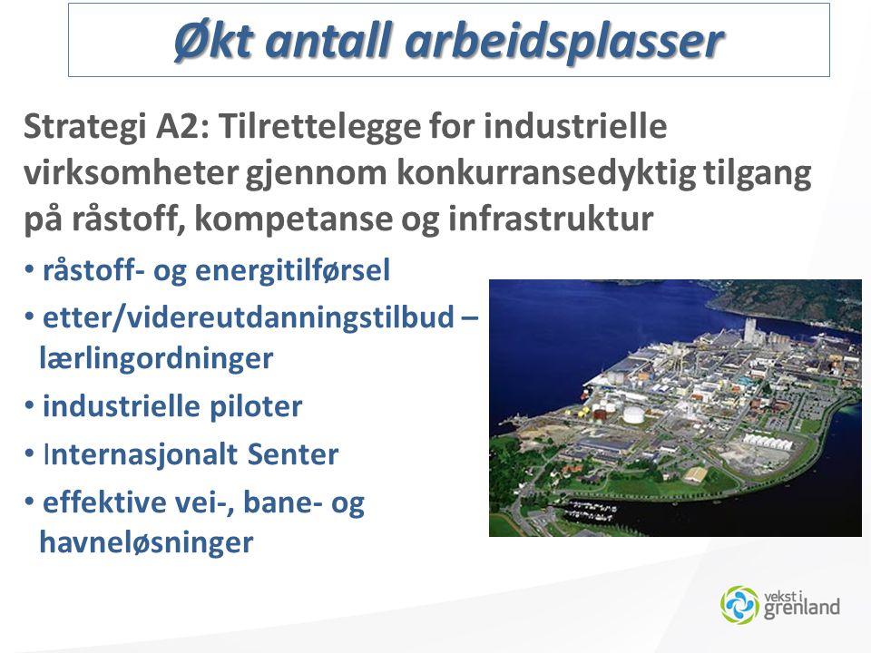 Strategi A2: Tilrettelegge for industrielle virksomheter gjennom konkurransedyktig tilgang på råstoff, kompetanse og infrastruktur råstoff- og energitilførsel etter/videreutdanningstilbud – lærlingordninger industrielle piloter Internasjonalt Senter effektive vei-, bane- og havneløsninger Økt antall arbeidsplasser